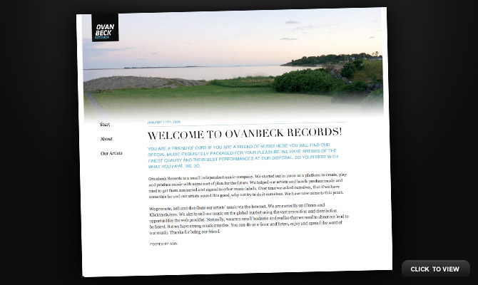 The new Ovanbeck Records site