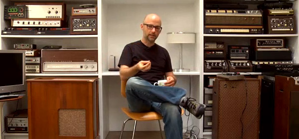 Moby with his collection of drum machines